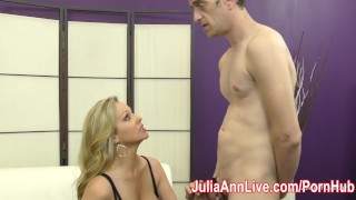 Preview 2 of Milf Julia Ann Makes Slave Cum on Her Stockings from FootJob!