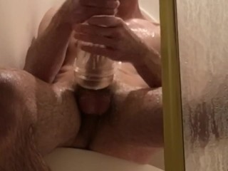 slippery when wet part2 - stud works his cock in shower with fleshjack