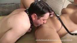 Slave With Collar On Gets Lesson In Pleasing Dominatrix Vagina