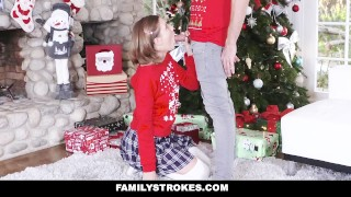 FamilyStrokes - Step-Sis fucked me during family Christmas pictures English teenager