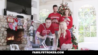 FamilyStrokes - Step-Sis fucked me during family Christmas pictures Son son