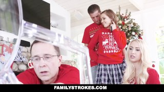 FamilyStrokes - Step-Sis fucked me during family Christmas pictures Sneaky wam