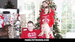 FamilyStrokes - Step-Sis fucked me during family Christmas pictures Teen cumshot