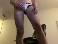 Hot sexy Underwear modeling jock strap briefs bubble butt strip tease