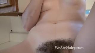 Kasey Warner strips and masturbates in kitchen