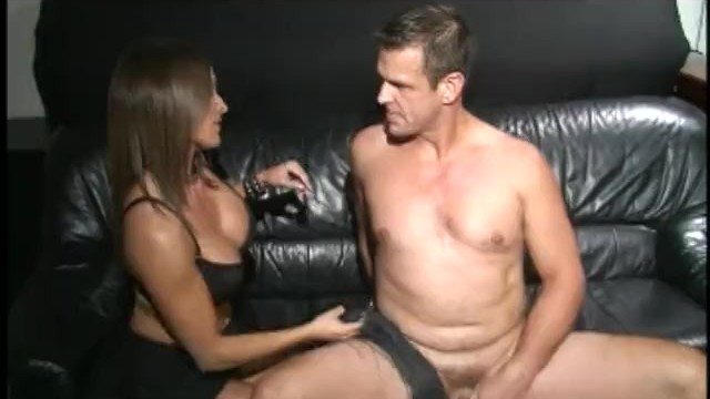 Erotic female sex toy Busty brunette hottie bangs her man with a massive sex toy