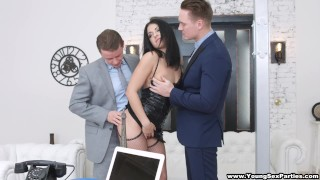 Young nubile businessmen two parties dped sex by sex stockings