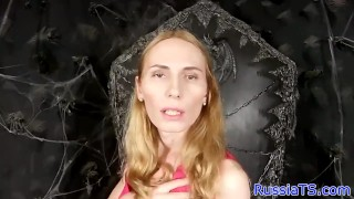 Real Russian tgirl toying her butthole Natural tits