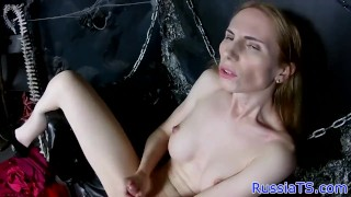 Real russian tgirl butthole toying her trans bigtits