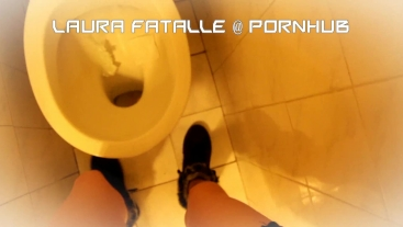 Naughty step sister got2pee pissing in public toilet - Laura Fatalle