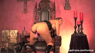 Preview 6 of Brunette hottie Capri masturbates on her throne