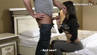 And sucks fucked time being first brunette cutie the for defloration ass