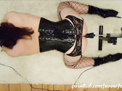 Sissy crossdresser in gas mask and ballet boots is fucked hard by machine