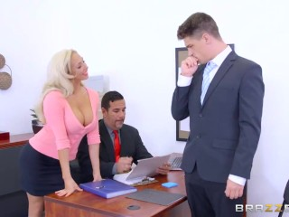 Quick Cum Compilation Dirty blonde mild Olivia Fox gets fucked on the desk - Brazzers