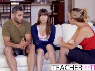Laya Leighton Pregnant Hot Teacher Tricks Students Into Threeway Fuck
