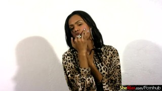 FULL video of cute black tranny petting bigtits and shecock