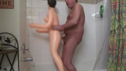 Fucking Blow Up Sex Doll In Shower