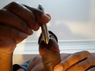PULLING OUT WIDE METAL ROD FROM COCK