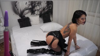 Anisyia Livejasmin Latex Extreme HighHeels Boots -buttpluged and fucked  fitness model anal livejasmin vibratoy extreme high heels pvc busty kink brunette petite black hair blue eyes anal orgasm latex suit latex anal huge cock buttplug