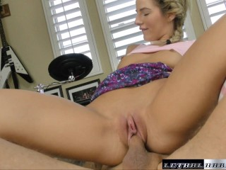 Bella get's so horny so she rides her stepdads cock