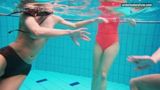 3 nude girls have fun in the water Cock punished
