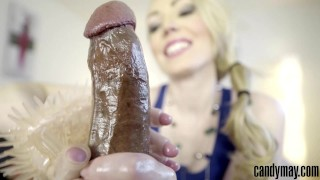 Candy May - Gives handjob to BBC with a latex glove Analized nubiles
