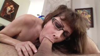 Flirty MILF Alexandra Silk seduces her sons friend with blowjob