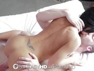 FantasyHD - Showering Honey Demon gets interrupted by cock