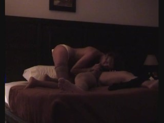 Mature slut fucks guy on hotel bed