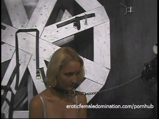 Hot blonde licks the leather boots of her ravishing domina