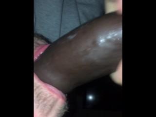 Young lad sucking big black cock