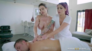 Brazzers - Sexy threesome on the massage table  3some nylons milf wife threeway blonde ffm mff mother tattoo threesome oiled up big-boobs big-tits kissing fake-tits brazzers massage butt doggystyle