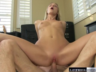 Eryn takes her first cock on camera and milks it for cum