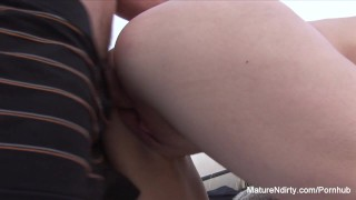 Sucks fucks mature outdoors blonde doggystyle outside