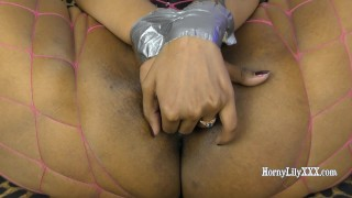 Duct taped HornyLily Ball Gagged and Gags and deep throat her BBC dildo