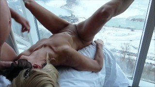 HOT AMATEUR WIFE FUCKING LARGE DILDO ON WINDOW ABOVE THE