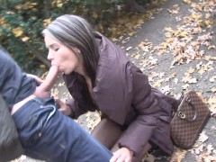 Young brunette czech babe sucks cock in the street for cash