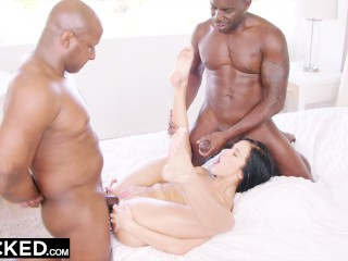 BLACKED Hot Megan Rain Gets DP'd By Her Sugar Daddy and His Friend