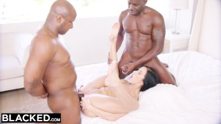 BLACKED Hot Megan Rain Gets DP'd By Her Sugar Daddy and His Friend Interracial mom