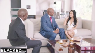 BLACKED Hot Megan Rain Gets DP'd By Her Sugar Daddy and His Friend Wife interracial