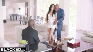 BLACKED Hot Megan Rain Gets DP'd By Her Sugar Daddy and His Friend Interracial tits