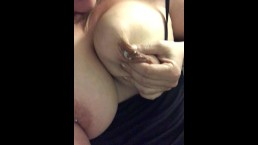 Big lactating tits and pierced nipples squirting milk