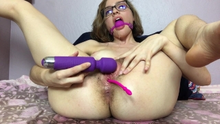 Mary Uses a Ball Gag and Squirts like a Geyser