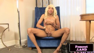 Black trans beauty Megan throbbing her cock