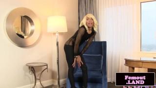 Black trans beauty Megan throbbing her cock Small babe