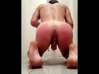 This Young boy spanks himself in the shower