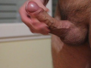 Massive thick amateur cock jerking and spurting thick cum load