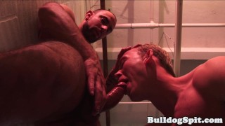Aroused hunk rough pounded in ass at work