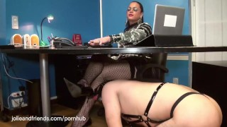 Tranny having fun with a slave wearing latex and getting whipped and fucked