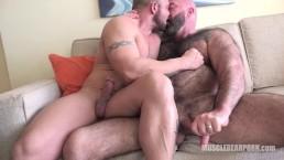 Bears kiss and cum